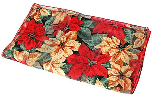 Christmas Scarf - Christmas Candycane, Poinsettia w/Gift Box By Crown