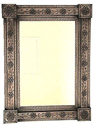 Flower Tin Mirror - Fine Crafts Imports Brown Flower Tin Mirror
