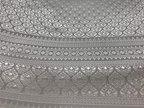 Amornphan 44 Inches Traditional Thai Silk Damask Fabric for Wedding Dress Skirt Silver Grey by The Yard (Thai Wedding Dress Silk)