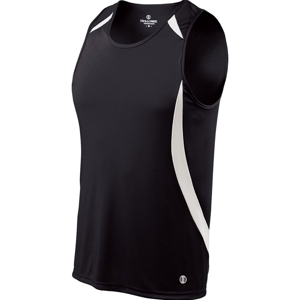 Holloway Youth Sprinter Singlet (Youth Large, Black/White) by Holloway