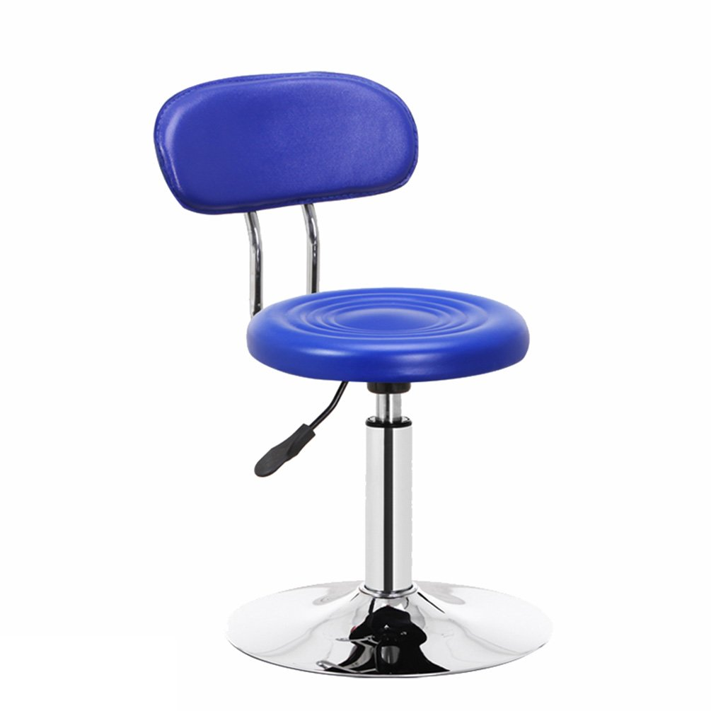 bluee Bar Counter Backrest Chair, Can Lift Barbershop Hairdressing Chair Manicure Chair Tea Shop Swivel Chair, 62-74cm (color   RED)