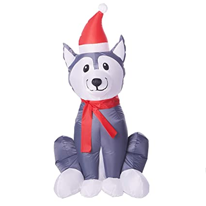Amazon.com: Holiday Time - Perro hinchable de Husky: Jardín ...