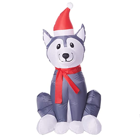 Amazon.com: Holiday Time - Perro hinchable de Husky: Jardín ...