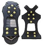 Tacos de tracción para el hielo y la nieve, hielo y nieve grips Cleat más de zapato/arranque de 10clavos de acero antideslizante crampones Slip-On Stretch calzado para hombres, mujeres S/M/L/XL