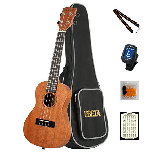 UBETA UC-031 Concert Ukulele 23 Inch Beginner Travel Mahogany Ukulele Bundle with Gig bag, clip-on tuner, picks,strings chord card and strap