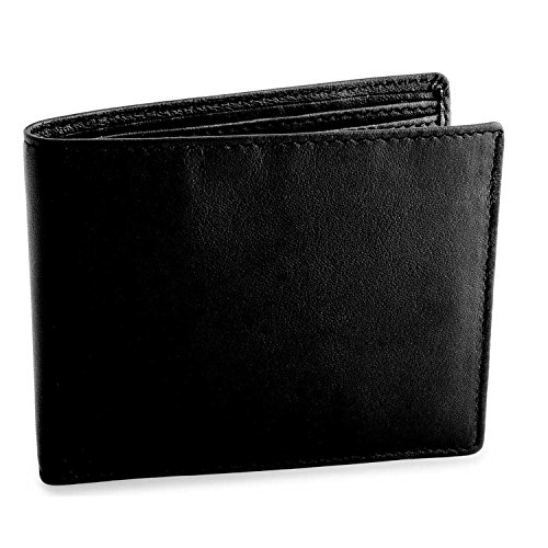 Black Leather Billfold (Mens Wallet Leather Slim Minimalist Front Pocket Bifold Soft Nappa Leather Wallets RFID Protection Black)