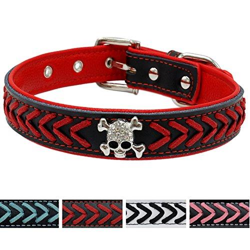 Vcalabashor Leather Dog Collar, Braided Dog Leather Collars Studded with Diamante Skull, Soft Padded Dog Collar,Red & Black Medium