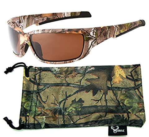 Hornz Brown Forest Camouflage Polarized Sunglasses for Men Full Frame Strong Arms & Free Matching Microfiber Pouch – Brown Camo Frame – Amber Lens