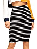 SheIn Women's Striped Knee Length Elastic Waist Bodycon Pencil Skirt