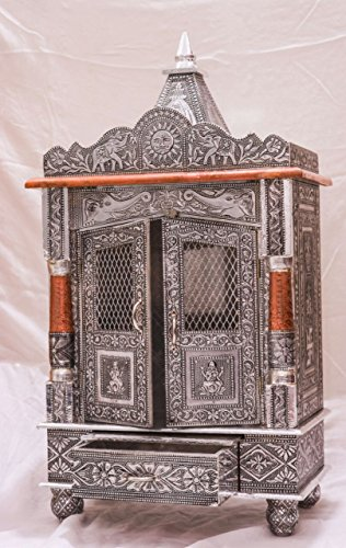 Pooja Mandir | Home Temple | Wooden Temple | Oxidized Puja Mandir Hand Crafted Wooden
