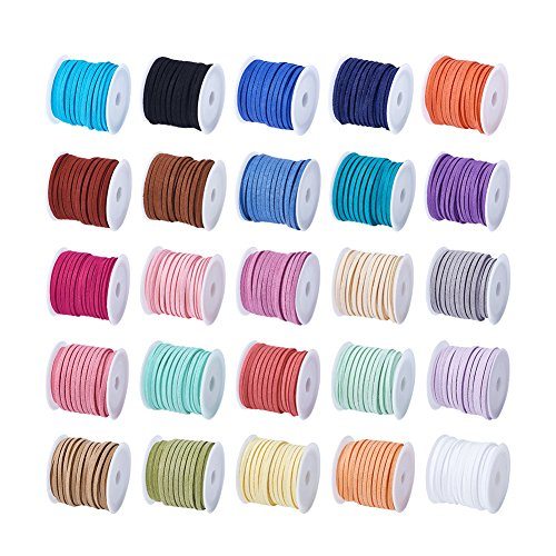 Pandahall 25Rolls 3x1.5mm Faux Suede Cord String Leather Lace Beading Thread Suede Lace Double Sided with Roll Spool Mixed Color ()