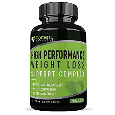 Weight Loss Support Complex :: High Performance :: Appetite Suppressant :: Shed pounds Fast :: All-Natural Ingredients:: Metabolism Booster :: 30 Day Supply (60 Caplets) :: Potent Naturals