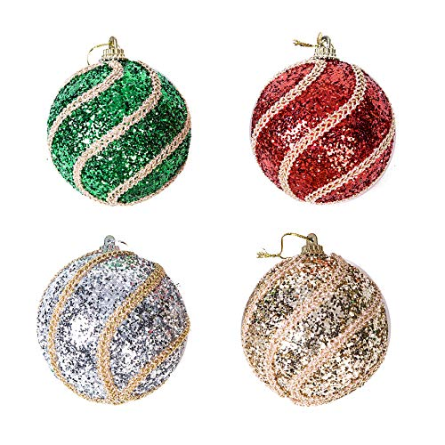 Xena 4 Pack Elegant Swirl Style Glitter Shiny Festive Christmas Shatterproof Ball Ornaments Set, 3.25 Inches Each Holiday Xmas Tree Decorations Red Green Silver Gold Modern Classic Decor -