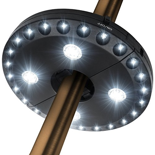 Patio Umbrella Light 3 Brightness Mode Cordless 28 LED Lights at 220 lux- 4 x AA Battery Operated, Umbrella Pole Light for Patio Umbrellas, Camping Tents or Outdoor Use (Black)