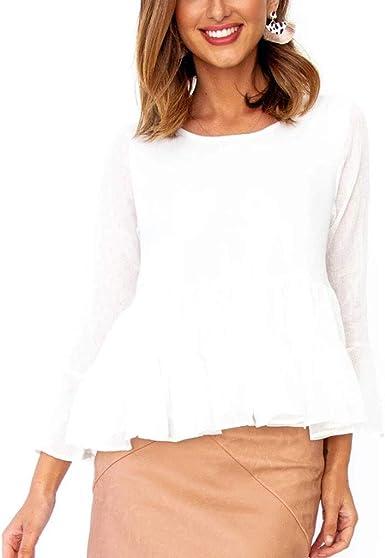 MrTom Camisa Blanca Mujer Manga Larga Blusa Mujeres Plisado Encaje Tutú Sexy Elegante Fiesta Vestir Casual Tops Camisetas Cuello Redondo Tallas Grandes: Amazon.es: Ropa y accesorios