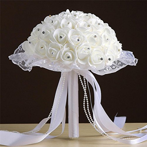 Paymenow Fake Bouquet Ribbon Beaded Lace Pearl Wire Rose Bouquet Egg Flower Bridesmaid Wedding Bouquet Bridal Artificial Silk Flowers (E) -