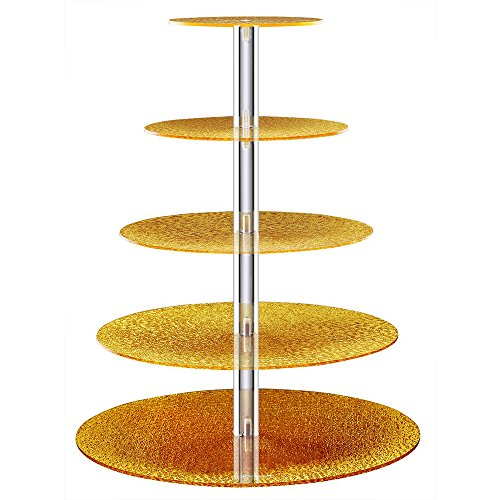 BonNoces Acrylic Cupcake Stand - 5 Tiers Cupcake Tower - Tiered Serving Dessert Cake Holder - Unique Golden Exquisite Patterns - Perfect for Wedding, Birthday, Party, Baby Shower and (Princess Round Serving Plate)