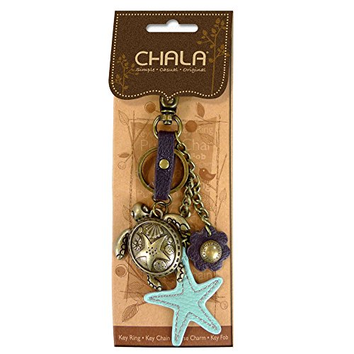 Charm Key Fob (Chala Metal Purse Charm, Key Fob, Key-Chain- M602 (Turtle- Teal))