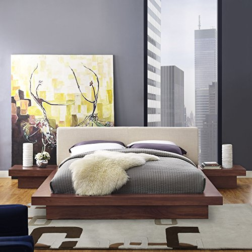 Modway Freja Upholstered Walnut Beige Modern Platform Bed with Wood Slat Support and Two Nightstands in Queen