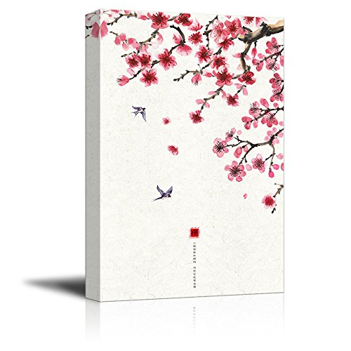 Traditional Chinese Style Painting of Cherry Blossom and Birds in Spring