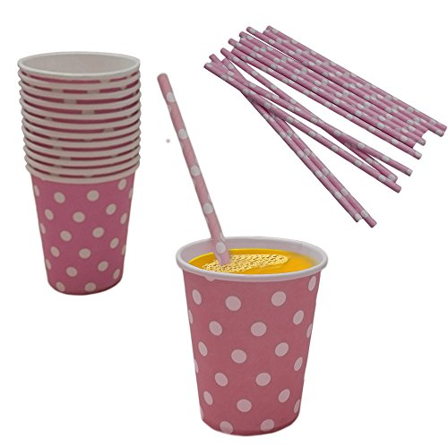 Light Pink And White Polka Dot Paper Cup And Straw Set- Pack Of 24- Includes 12 Polka Dot Cups And 12 Polka Dot Straws. Great for Parties, Birthdays, Holidays And Much More!! ()