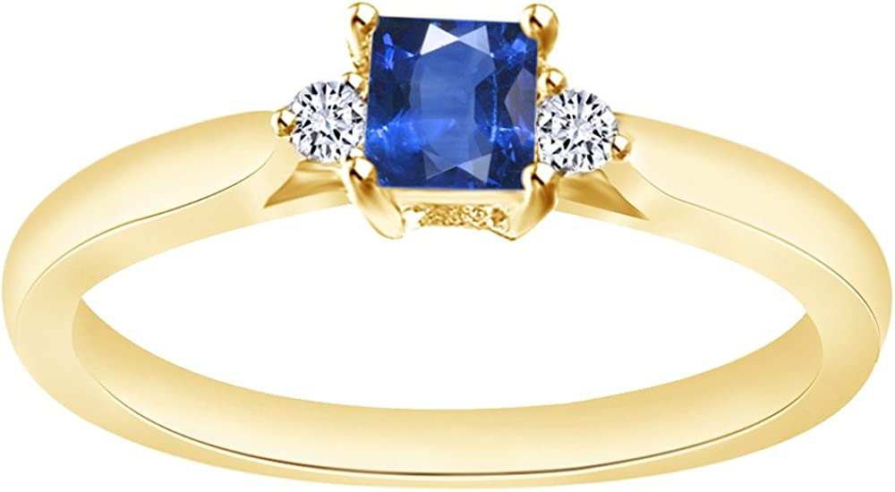 AFFY Pear Cut Simulated Blue Sapphire Solitaire Pendant Necklace in 14K Gold Over Sterling Silver
