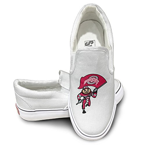 [HYRONE Ohio State Buckeyes Football Unisex Footwall Canvas Shoes Travel White] (Miley Cyrus Disney Costume)