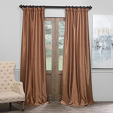 Half Price Drapes PDCH-KBS8BO-84 Blackout Vintage Textured Faux Dupioni Curtain, Flax Gold, 50 X 84 - Flax Color