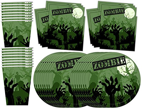 Free Zombie Birthday Party Supplies Set Plates Napkins Cups Tableware Kit for 16