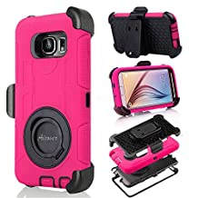 S6 Case, Galaxy S6 Case, Aitech Ultra Shock&drop-proof Amy-grade Protective Hard Defender Case and Three Layer Hard Shell Cover Holster with 360 Degree Rotating Ring Bracket Protective Case for Samsung Galaxy S6-- TPU Rubber & Silicone Case with Stand & Clip for Samsung Galaxy S6 (Hot Pink+Black)
