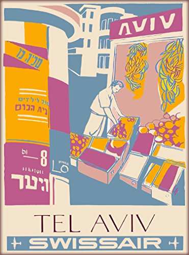 A SLICE IN TIME Tel Aviv Israel Hebrew Jewish Palestine Swissair Vintage Airline Travel Home Collectible Wall Decor advertisement Art Poster Print. Measures 10 x 13.5 inches