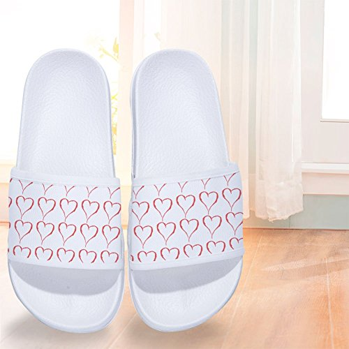 Pattern Quick Womens Pink Slippers Heart Drying W Slip Non Slippers Mens 8q85wX6xF