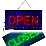 Jinon Bright LED 2 in1 Open & Closed Store Electric Light Up Sign for Business Displays 9.820.470.8'' Display Neon Suit for Shop Window, Bars, Liquor Stores