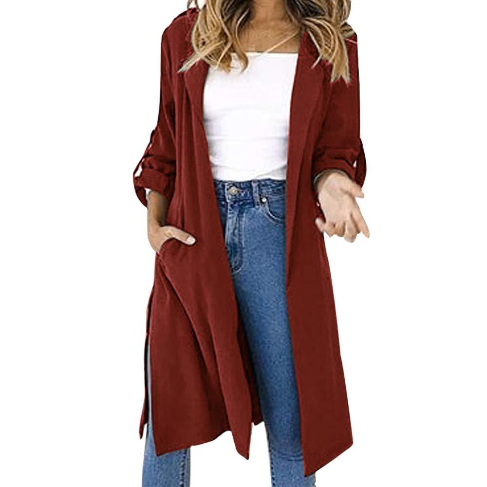 Spbamboo Womens Coat Front Open Solid Long Sleeve Turn-down Collar Windbreaker