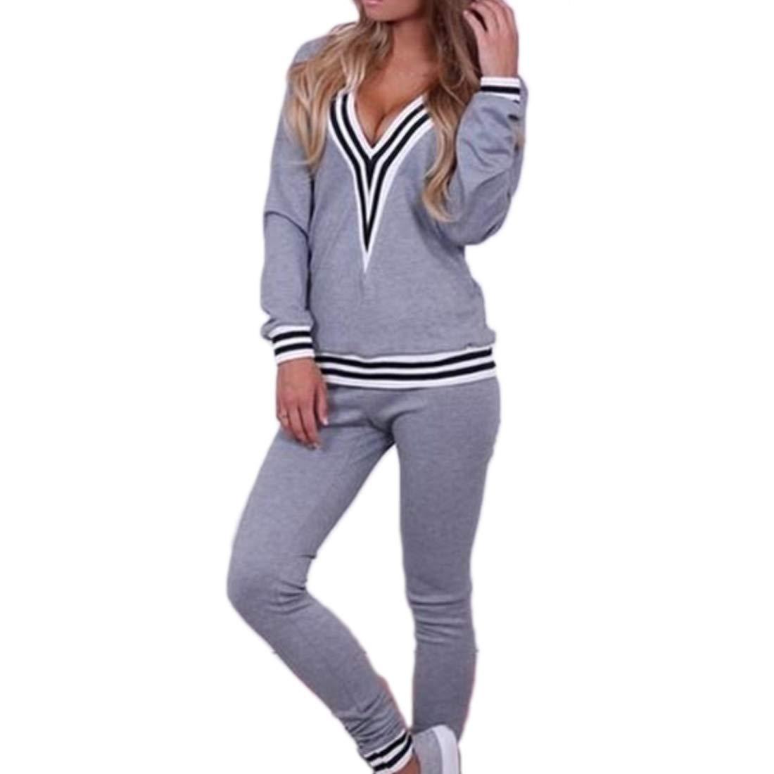 TALLA EU XS=Tag S. Aiweijia Traje Casual Deportivo Profundo en V para Mujer Pantalones de Manga Larga Conjunto de 2 Piezas Conjunto de Ropa Sudadera Deportiva Ropa Deportiva de Yoga Conjunto
