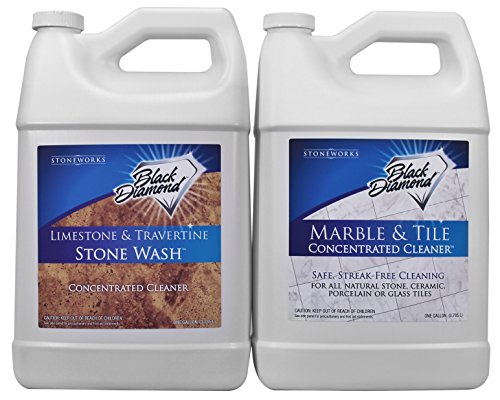 Honed Slate Tile - Black Diamond Stoneworks Limestone and Travertine Floor Cleaner: Natural Stone, Marble, Slate, Honed or Tumbled Surfaces. Concentrated Ph Neutral. Black Diamond Marble & Tile Floor Cleaner. Great for Ceramic, Porcelain, Granite, Natural Stone, Vinyl & Linoleum . No-rinse Concentrate (1, 2-Gallons)