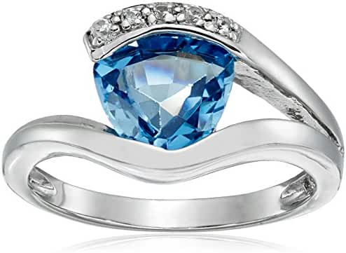 Sterling Silver Created Aquamarine Ring