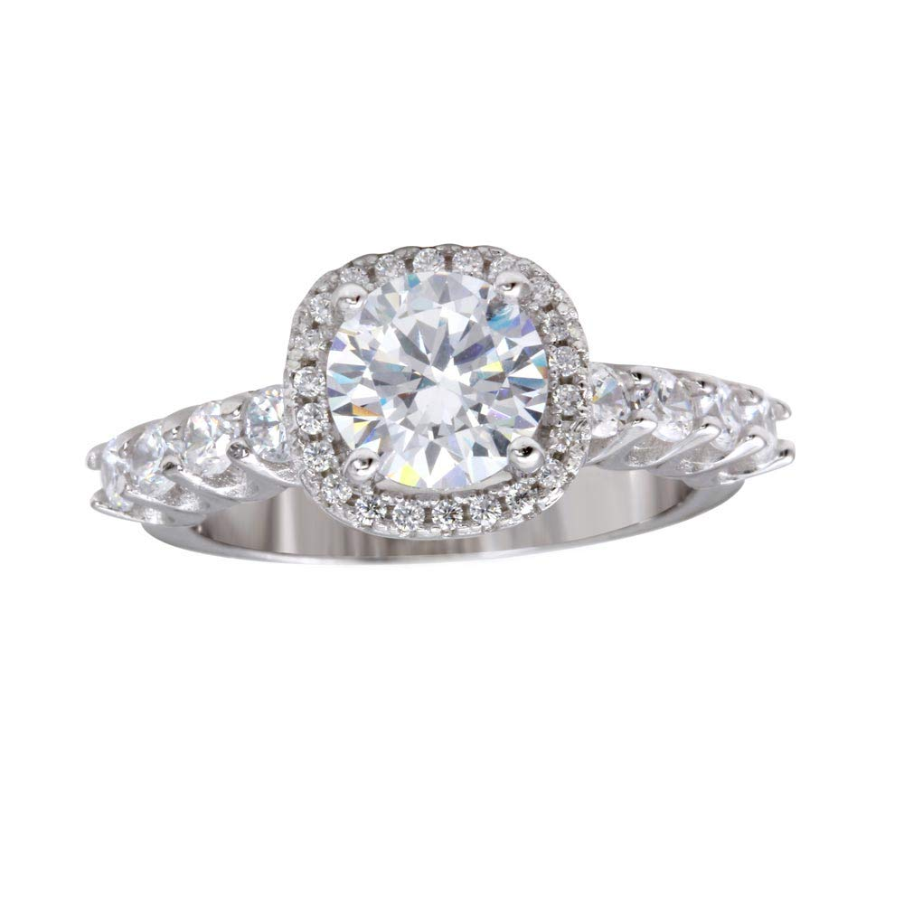 Princess Kylie Halo Set Clear Cubic Zirconia Square Engagement Ring Rhodium Plated Sterling Silver