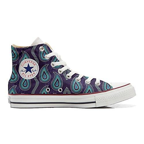 Converse All Star Hi Canvas, scarpe Personalizzate (prodotto artigianali) Purple Paisley