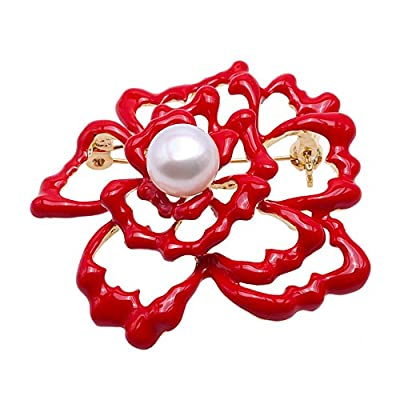 Discount JYX Fine Brooch Flower-style 10.5mm White Freshwater Pearl Brooch for sale