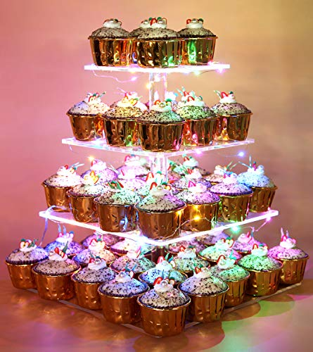 Vdomus Pastry Stand 4 Tier Acrylic Cupcake Display Stand with LED String Lights Dessert Tree Tower for Birthday/Wedding Party -