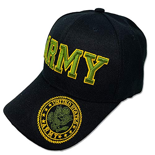Cap Service Army (GREAT CAP Acrylic Military Hat - US Warriors Official Licensed Army Hat 3D Embroidered with Size Adjustable Hoop and Loop Closure for Men and Women - Army Letter - Black)