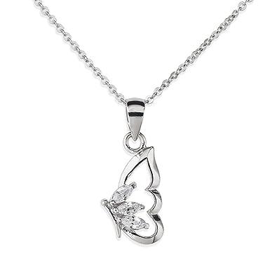 Amor Damen-Kette mit Anhänger Schmetterling 925 Sterlingsilber rhodiniert  Zirkonia weiß 42 cm 382151 a7d312b8fd