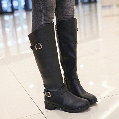 Fibbia Donna Nero Boots Tacco Beautytop Stivaletti Piane Cavaliere Faux Beauty Martin Scarpe Top Autunno Invernali Stivali B1WEw8q