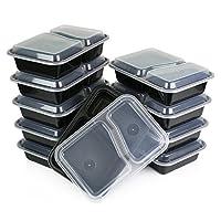 Sets de fiambreras directas verdes /Recipiente grande para alimentos con tapa /Bento Box con 2 compartimentos, apto para microondas, congelador y lavavajillas, a prueba de fugas, paquete de 10