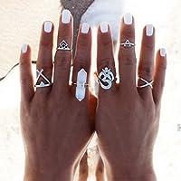 Nongkhai shop 6pcs Silver Boho Women Stack Plain Above Knuckle Ring Midi Finger Tip Rings Set