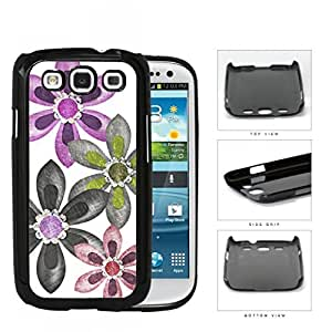 Grunge Flower Sketch With Amethyst Stones Hard Plastic Snap On Cell Phone Case Samsung Galaxy S3 SIII I9300