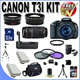Canon EOS Rebel T3i 18 MP CMOS Digital SLR Camera and DIGIC 4 Imaging with EF-S 18-55mm f/3.5-5.6 IS Lens and Canon 55-250IS Lens + 58mm 2x Telephoto lens + 58mm Wide Angle Lens (4 Lens Kit!!!!!!) W/32GB SDHC Memory+ Battery Grip + 2 Extra Batteries + Charger + 3 Piece Filter Kit + UV Filter + Full Size Tripod + Case +Accessory Kit!, Best Gadgets