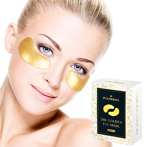 Puriderma 24K Anti-Aging Gold Collagen Eye Mask with Hyaluronic Acid - Hydrate, Lift, Refresh Under Eye - Smooth Wrinkles, Fine Lines, Dark Circles, Puffiness, Dryness (15 Pairs)