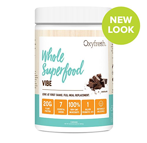 Vegan Protein & Greens Plant Based Meal Replacement Shake - Pea Protein - Patented Probiotic - Full Serving of Greens - Non GMO - 15 Servings - Oxyfresh Vibe Chocolate (New (Full Meal Replacement)